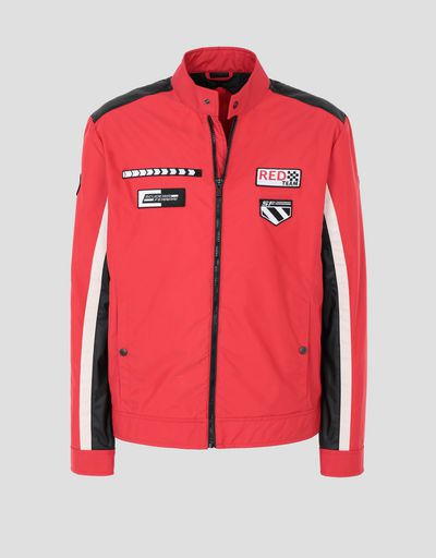 Scuderia Ferrari Online Store - Men's Everywhere Red nylon biker jacket - Biker Jackets