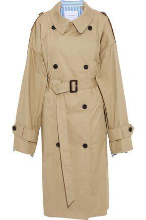 PUSHBUTTON Oversized cotton-gabardine and striped poplin trench coat