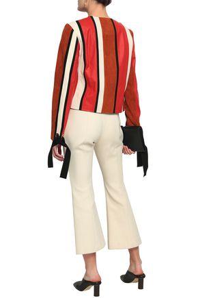 DEREK LAM 10 CROSBY Embellished paneled suede and leather jacket