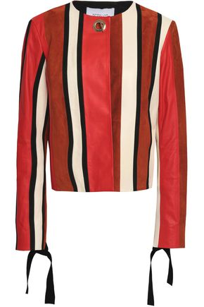 DEREK LAM 10 CROSBY Embellished paneled suede and leather jacket