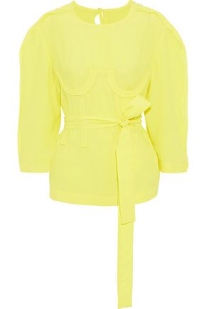Belted Appliquéd Crepe Blouse by Pushbutton