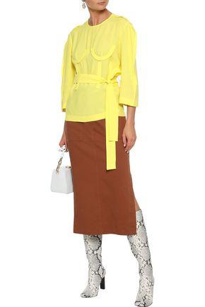 PUSHBUTTON Belted appliquéd crepe blouse