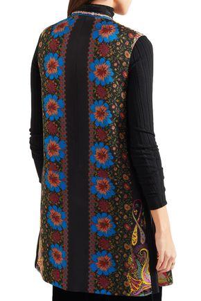 ETRO Satin-trimmed printed faille vest