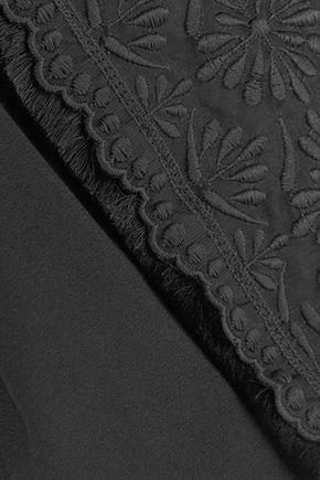 ANTONIO BERARDI クロップド フリンジ付き イギリス刺繍入り クレープ ジャケット