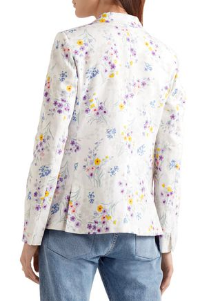 MAX MARA Libia double-breasted floral-print linen blazer