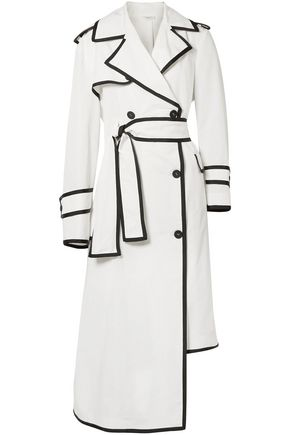 THOM BROWNE Double-breasted asymmetric shell trench coat