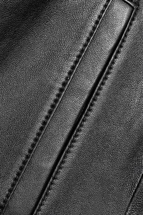 ALICE + OLIVIA Arlo gathered leather biker jacket