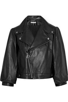 ALICE + OLIVIA Arlo cropped gathered leather biker jacket