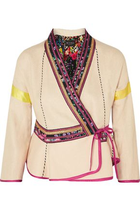 ETRO Satin-trimmed embroidered linen-blend wrap jacket