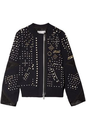 SACAI Faux pearl-embellished cotton-blend jacket
