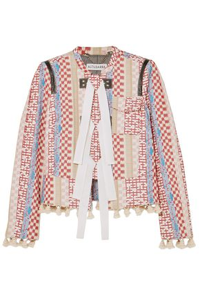 ALTUZARRA Tasseled leather-trimmed jacquard jacket