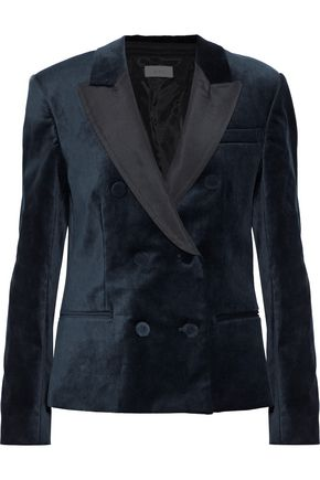 A.L.C. Faille-paneled cotton-blend velvet blazer