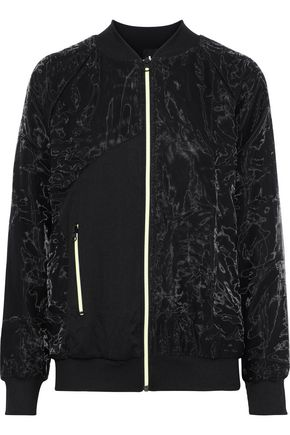 KORAL Soho paneled crinkled-shell and ribbed-knit jacket