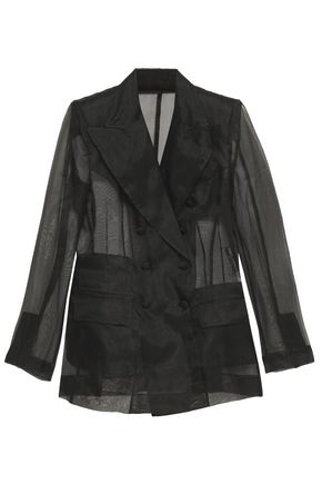 DOLCE & GABBANA Double-breasted silk-organza blazer