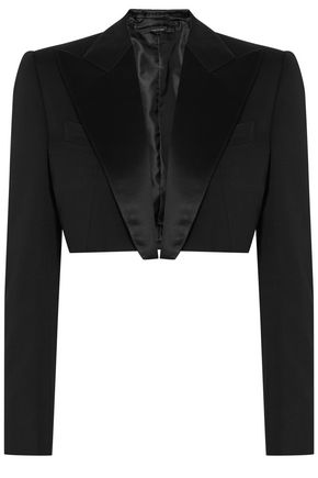 TOM FORD Cropped satin-trimmed wool-crepe blazer