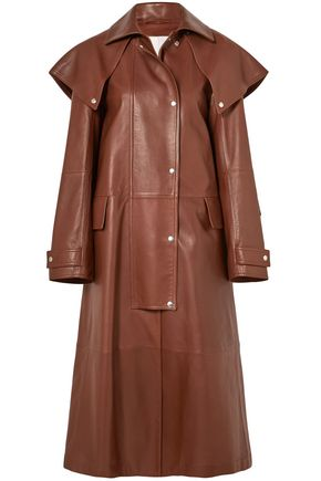 CALVIN KLEIN 205W39NYC Cape-effect leather coat