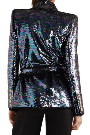 BALMAIN Frayed open-front sequined knitted blazer