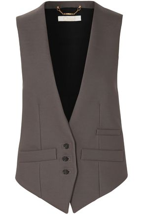 CHLOÉ Paneled wool-blend twill and satin vest