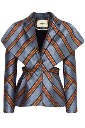 FENDI Cape-effect cutout striped jacquard peplum blazer
