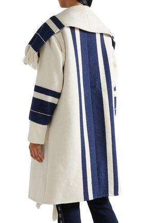 CHLOÉ Fringed striped cotton-blend coat