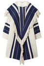 CHLOÉ Fringed striped cotton-blend coat