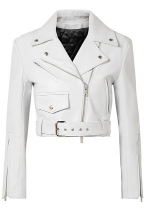 CALVIN KLEIN 205W39NYC Cropped leather biker jacket