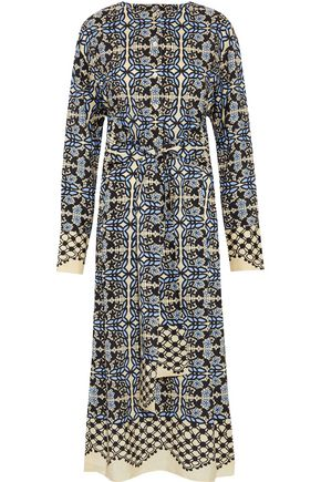 GOEN.J Tie-front printed silk midi dress