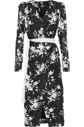 bc50138cea229c J Floral-print fil coupé georgette midi wrap dress