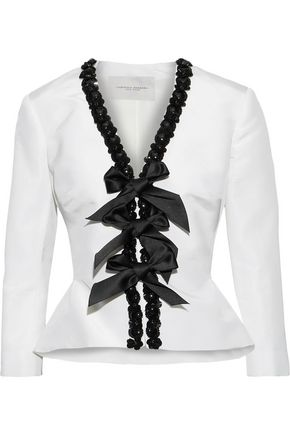 CAROLINA HERRERA Embellished silk-faille peplum jacket