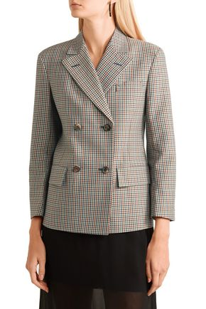 MAISON MARGIELA Double-breasted checked wool, mohair and silk-blend blazer