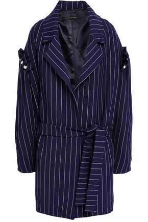 MOTHER OF PEARL Deon faux pearl-embellished pinstriped twill coat