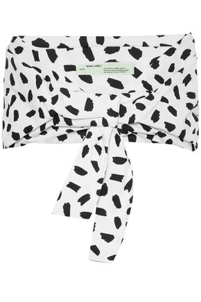 OFF-WHITE™ Cropped printed cotton-poplin top