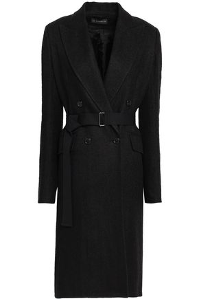 ANN DEMEULEMEESTER Double-breasted herringbone linen-blend coat