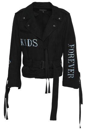 ANN DEMEULEMEESTER Printed twill biker jacket