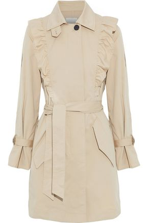 JOIE Gila ruffle-trimmed cotton-blend twill trench coat