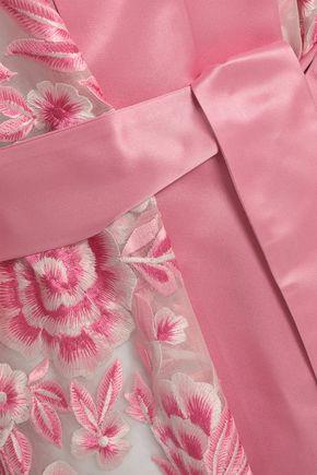 NAEEM KHAN Embroidered satin-trimmed silk-organza kimono coat
