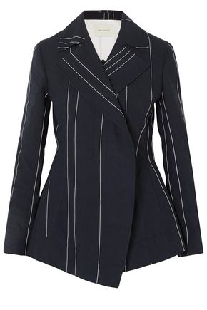 CEDRIC CHARLIER Double-breasted pinstriped linen and cotton-blend blazer