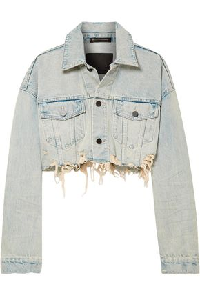 ALEXANDER WANG Cropped distressed denim jacket