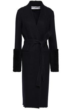 AMANDA WAKELEY Shearling-trimmed wool-blend felt coat