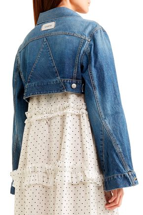 GANNI Cropped faded denim jacket