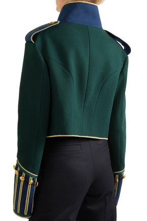 BURBERRY Cropped button-embellished wool jacket