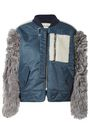 SANDY LIANG Shell and shearling-paneled bomber jacket