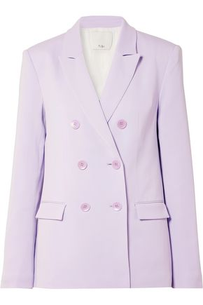 TIBI Double-breasted satin-faille blazer