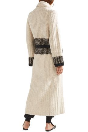 CHLOÉ Striped ribbed wool and cashmere-blend wrap cardigan
