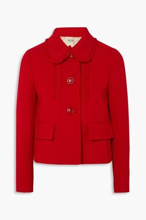 MIU MIU Ruffle-trimmed wool-crepe jacket