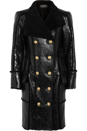 BALMAIN Double-breasted glossed-shearling coat