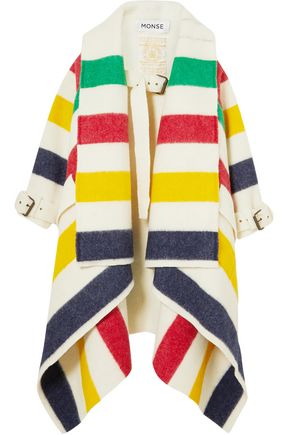 MONSE Striped wool felt coat