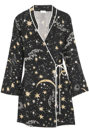 RIXO London Printed satin-crepe mini wrap dress