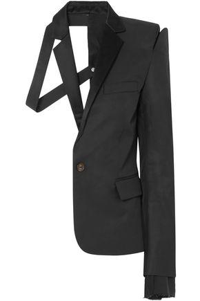 BEN TAVERNITI™ UNRAVEL PROJECT Deconstructed satin-trimmed silk and cotton-blend twill blazer