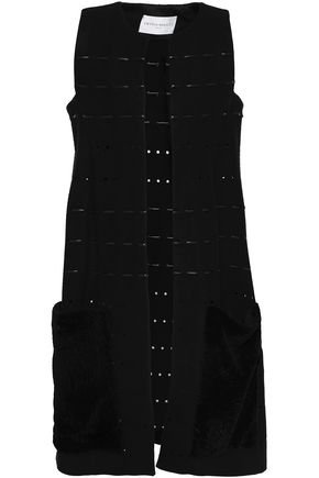 AMANDA WAKELEY Faux leather-trimmed wool-blend vest